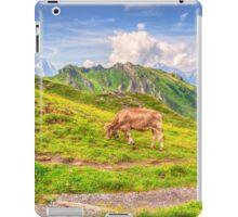 COW BY WALKING TRAIL ON SWISS ALPS iPad Case/Skin