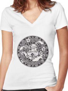 Daruma Mandala Women's Fitted V-Neck T-Shirt