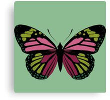 Butterfly in Green and Pink Canvas Print