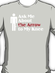 Skyrim - Ask Me About the Arrow (male) on dark T-Shirt