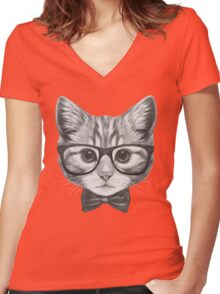Cat with glasses and bow tie Women's Fitted V-Neck T-Shirt
