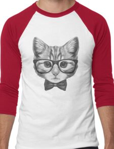 Cat with glasses and bow tie Men's Baseball ¾ T-Shirt