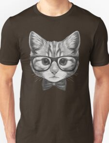 Cat with glasses and bow tie Unisex T-Shirt