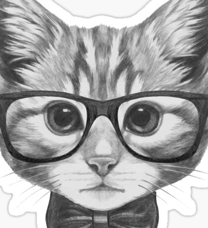 Cat with glasses and bow tie Sticker
