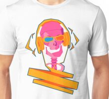 It is a Skeleton with Headphones and also 3D Glasses - Transparent Unisex T-Shirt