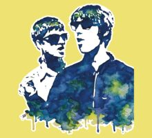 Liam and Noel Gallagher Watercolor Stencil (for color) by Haleymoon