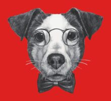 Jack Russell with glasses and bow tie One Piece - Short Sleeve