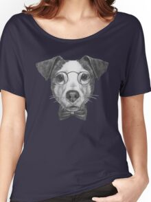 Jack Russell with glasses and bow tie Women's Relaxed Fit T-Shirt