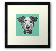 Jack Russell with glasses and bow tie Framed Print