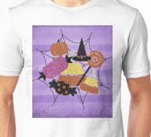 Faux Glitter Halloween Candy Spider Web Collage Purple Unisex T-Shirt