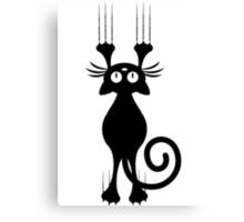 Cute Cartoon Black Cat Scratching Canvas Print