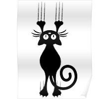 Cute Cartoon Black Cat Scratching Poster