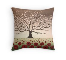 Blossom tree hill picture spring abstract art wall canvas landscape poppies texture impasto art Throw Pillow