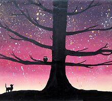 """The Owl & Pussycat"" wall art Original print painting owl decor wall art starry night tree of life by wrightsonarts"