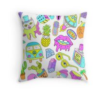 Crazy sticker style acid color pattern Throw Pillow