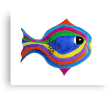 Multicolor acrylic painting of a fish Canvas Print