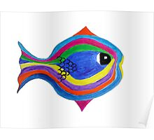 Multicolor acrylic painting of a fish Poster