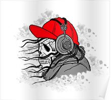 Human Skull with Cap and Headphones Listening Music Poster