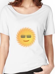 Smiling Sun with Black Glasses Women's Relaxed Fit T-Shirt