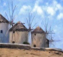 Mykonos Windmills by Lois  Bryan