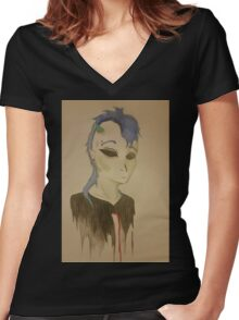 Blue haired guy Women's Fitted V-Neck T-Shirt