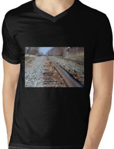 Tracks to the Future Mens V-Neck T-Shirt
