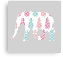 Elephants: Pink and Blue Pineapple Canvas Print