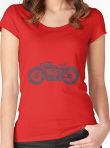 Vintage Motorcycle Hand drawn Silhouette Illustration Women's Fitted Scoop T-Shirt