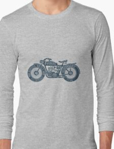 Vintage Motorcycle Hand drawn Silhouette Illustration Long Sleeve T-Shirt