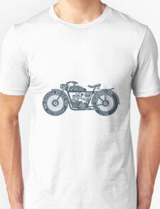 Vintage Motorcycle Hand drawn Silhouette Illustration Unisex T-Shirt