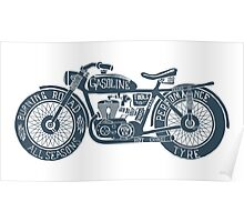 Vintage Motorcycle Hand drawn Silhouette Illustration Poster
