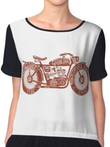 Vintage Motorcycle Hand drawn Silhouette Chiffon Top
