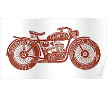 Vintage Motorcycle Hand drawn Silhouette Poster