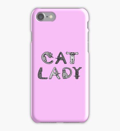 Cat Lady - Cat Letters - Grey iPhone Case/Skin