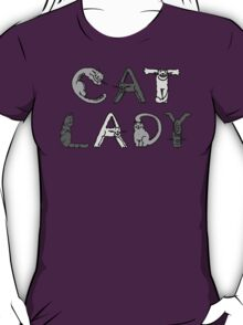 Cat Lady - Cat Letters - Grey T-Shirt