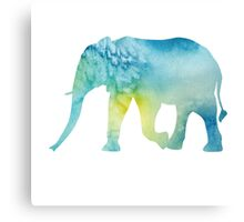 Elephant: Blue Watercolor Canvas Print