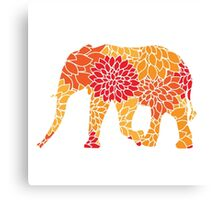 Elephant: Flower Pattern Canvas Print
