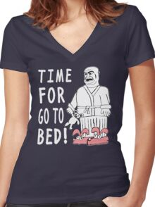 Time For Go To Bed Women's Fitted V-Neck T-Shirt