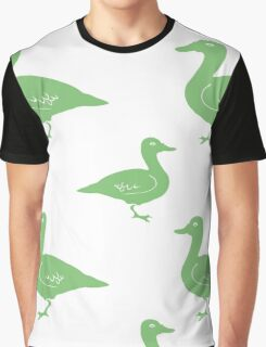 Hand Drawn Duck silhouette seamless pattern. Illsutration Graphic T-Shirt