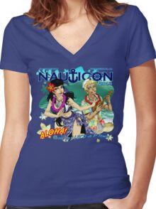 Nauticon 2013 - ALOHA! Come get LEI'D in P-town! [with DATE & LOCATION] Women's Fitted V-Neck T-Shirt