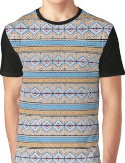 Orange & Blue Pattern Graphic T-Shirt
