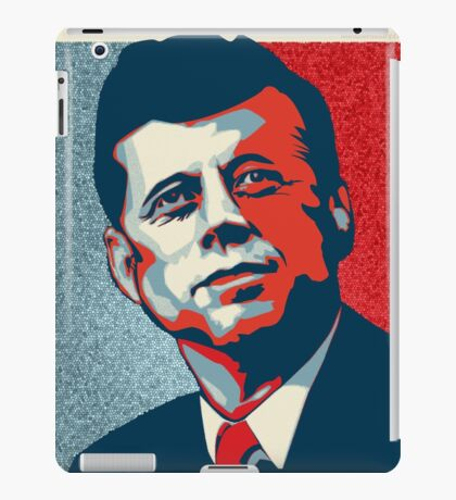 JFK Shepard Hope Style Poster (Red Blue High-Res Textured) iPad Case/Skin