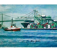 Sunny afternoon in the Port of Los Angeles Photographic Print