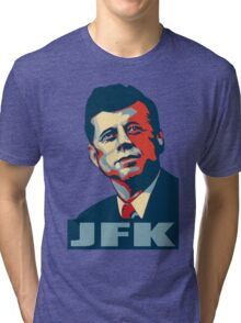 JFK Shepard Hope Style (Red Blue No Background) Tri-blend T-Shirt