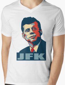 JFK Shepard Hope Style (Red Blue No Background) Mens V-Neck T-Shirt