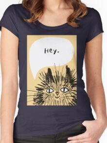 Hey Cat.  Women's Fitted Scoop T-Shirt