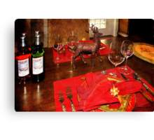 A Holiday Table Set Just for Two Canvas Print