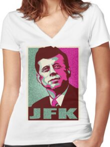 JFK Shepard Hope Style Poster (Emerald Hi-Res Textured) Women's Fitted V-Neck T-Shirt