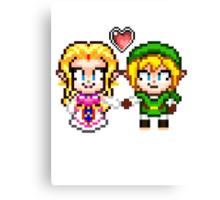 Link and Zelda In Love - Pixel Art Canvas Print