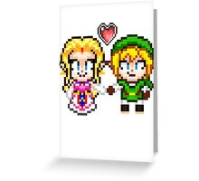 Link and Zelda In Love - Pixel Art Greeting Card